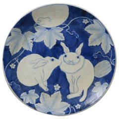 Japanese Ceramic Plate with Rabbits under the Full Moon