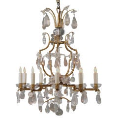 A French Gilt Iron and Cut Crystal Chandelier