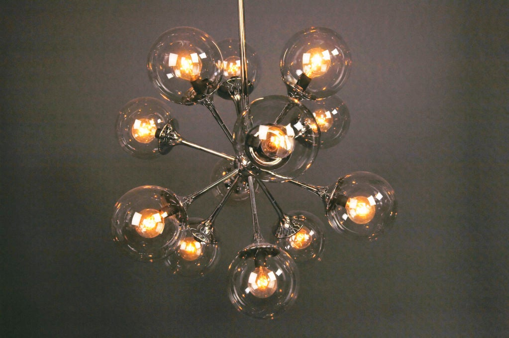 A Nickel Plated Chandelier image 2