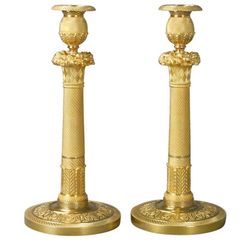 Neoclassical Pair of French Gilt Bronze Candlesticks