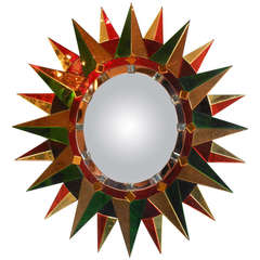 A French Oval Polychrome Sunburst Mirror