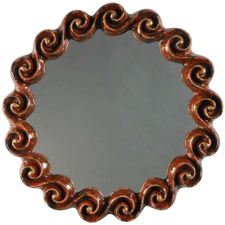 Red and Gilt Ceramic Wave Mirror by Gail Dooley