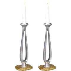 French Modern Pair of Pewter and Brass Candlesticks