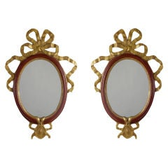 Neoclassical Pair of Painted and Parcel-Gilt Mirrors