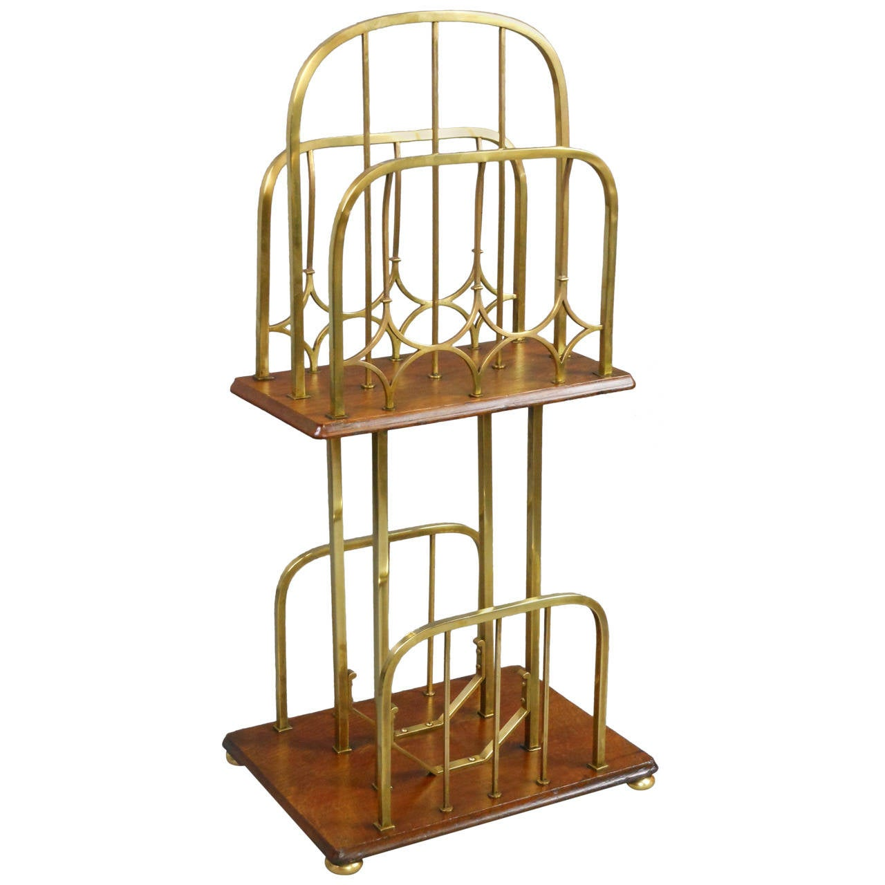 Arts and Crafts Brass and Oak Magazine Stand
