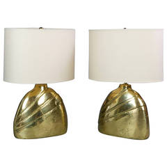 Pair of Italian Modern Cast Brass Lamps Signed