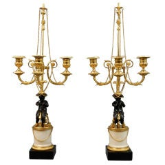 French Pair of Louis XVI Patinated and Gilt Bronze and Marble Candelabra