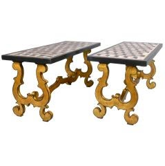 Italian Pair of Giltwood Coffee Tables with Marble Tops
