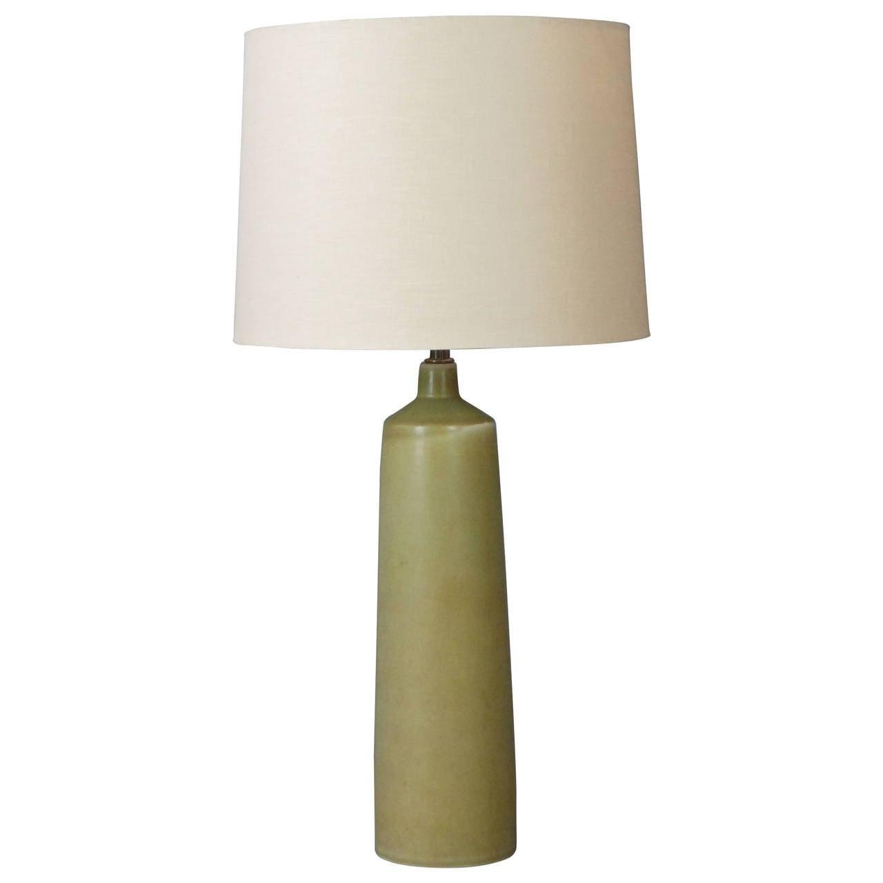 Scandinavian Modern Green Ceramic Lamp by Per Linnemann-Schmidt