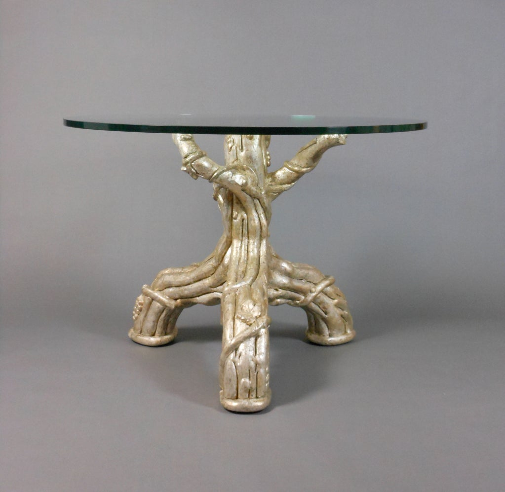 Michael taylor cyprus tree trunk dining table at 1stdibs - A French Silvered Tree Trunk Table With A Glass Top 2