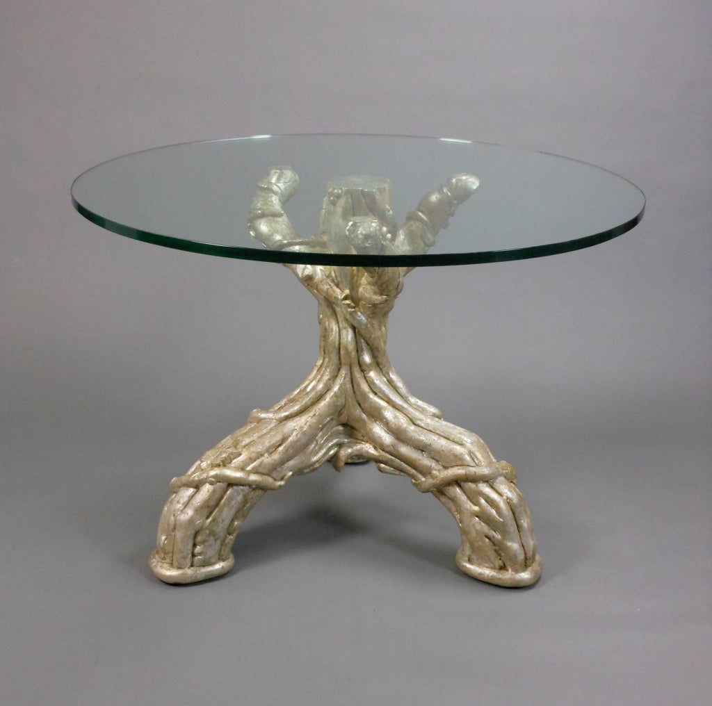 French Silvered Tree Trunk Table With A Glass Top At 1stdibs