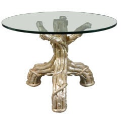 A French Silvered Tree Trunk Table with a Glass Top