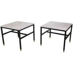 Pair of Italian Mid-Century Modern Low Tables with Marble Tops