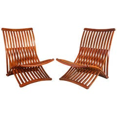 Canadian Birch Steamer Chairs by Thomas Lamb, circa 1970
