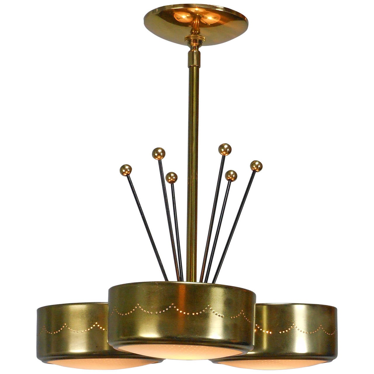 mid century modern brass chandelier for sale at 1stdibs. Black Bedroom Furniture Sets. Home Design Ideas
