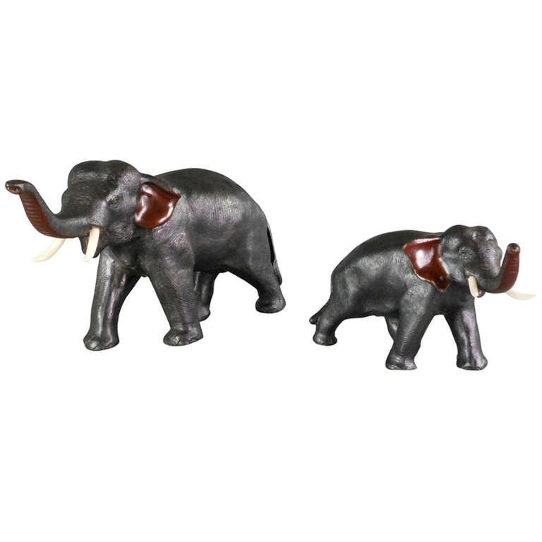 Jeff Zimmerman Furniture Pair of Japanese Bronze Elephants at 1stdibs