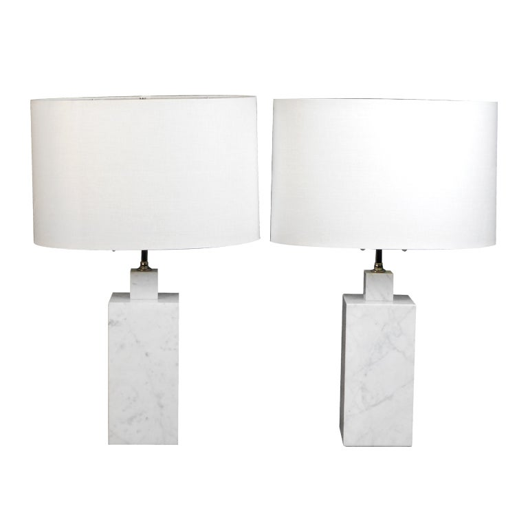 Gray White Veined Marble Bathrooms: A Pair Of Italian Grey Veined White Marble Square Column