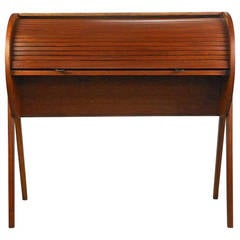 Mid-Century Modern Teak Roll Top Desk