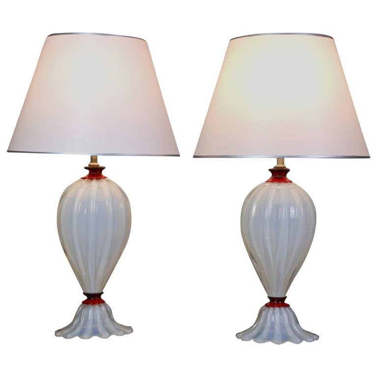 Pair of Murano Mid-Century White and Red Glass Lamps