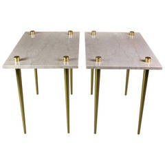 Pair of Italian Brass-Mounted Marble Side Tables