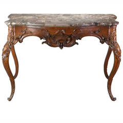 German Rococo Console Table with a Gray and Brown Breccia Marble Top