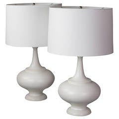 Pair of Midcentury Large White Ceramic Lamps
