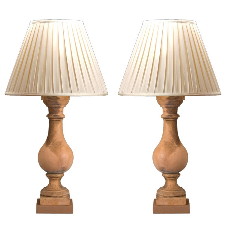 French Neoclassical Pair of Terra Cotta Baluster Lamps