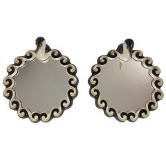 Pair of Glazed Stoneware Pied Shag Mirrors by Gail Dooley