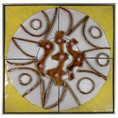 "1970s Abstract Ceramic Panel Signed ""Sucsan"""