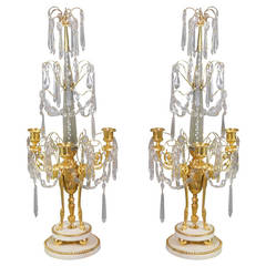 Neoclassical Pair of Gilt Bronze Obelisk Candelabra