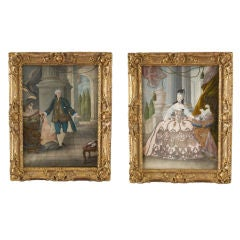 Pair of Rococo Pendant Portraits of a Nobleman and His Wife