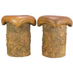Swedish Pair of Ceramic Tree Trunk Stools, Marked Hoganas