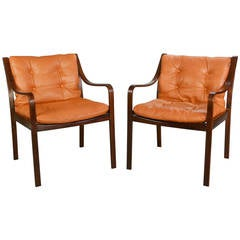 Scandinavian Modern Pair of Beechwood Chairs