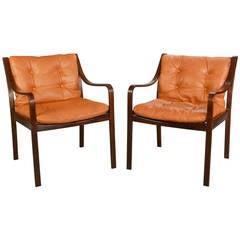 Scandinavian Modern Pair of Beechwood Chairs