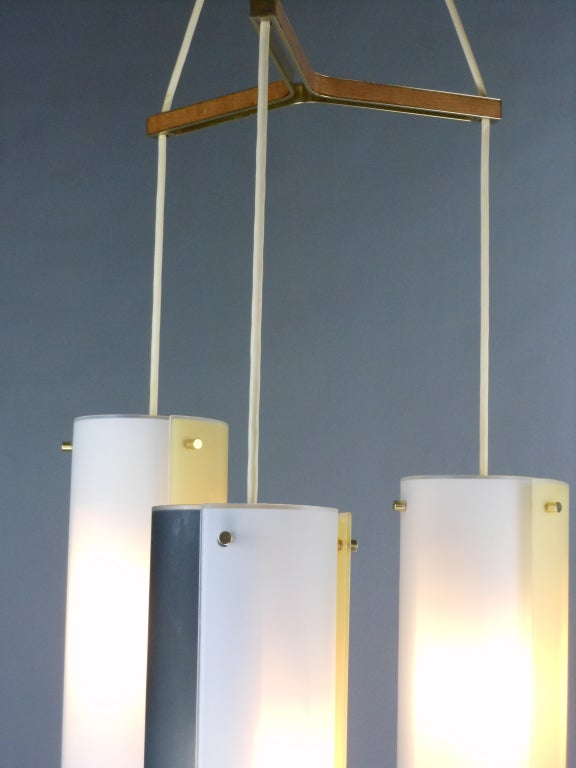 Italian Mid-Century Modern Glass Chandelier For Sale 6
