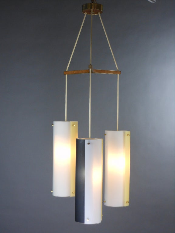 Italian Mid-Century Modern Glass Chandelier For Sale 2