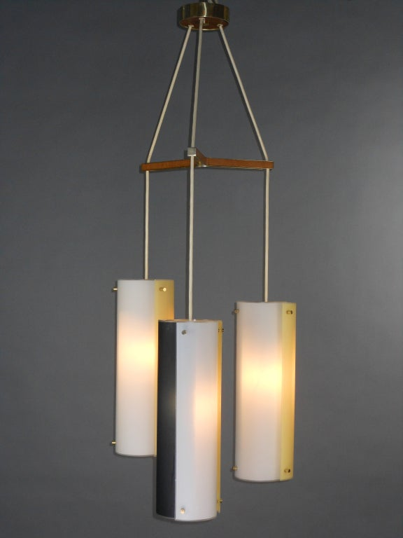 Italian Mid-Century Modern Glass Chandelier For Sale 3