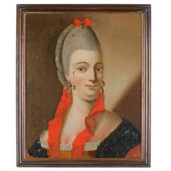 Chinese Reverse Glass Portrait of a Danish Lady