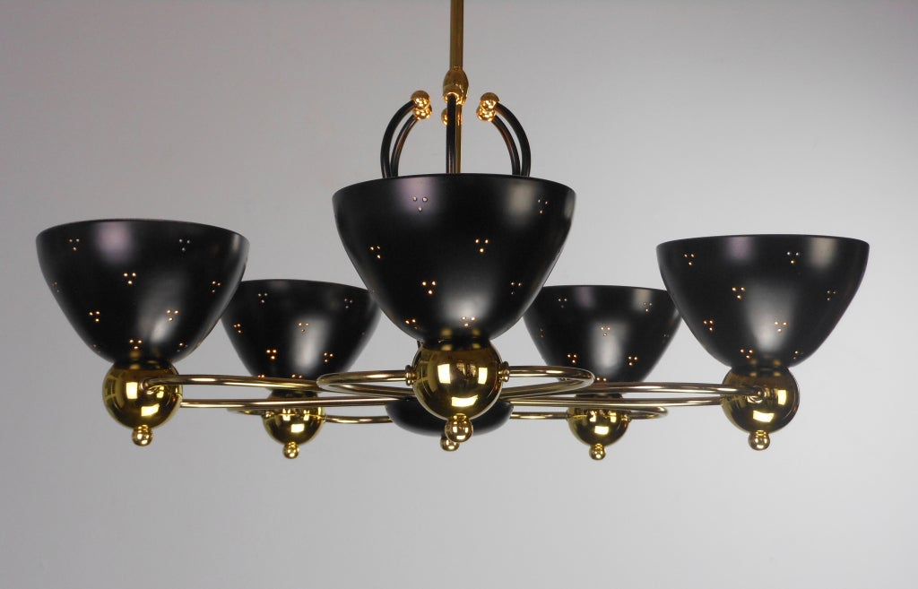 An American Mid-Century Modern Brass and Black Chandelier by Lightolier 5