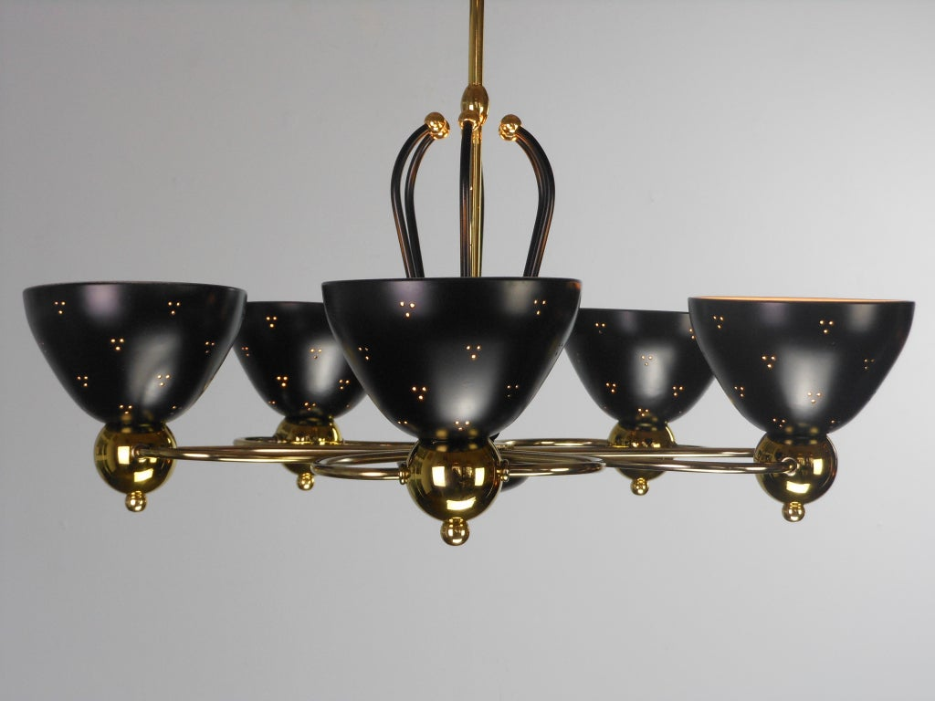 An American Mid-Century Modern Brass and Black Chandelier by Lightolier 6