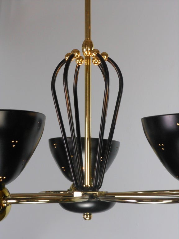 An American Mid-Century Modern Brass and Black Chandelier by Lightolier 8