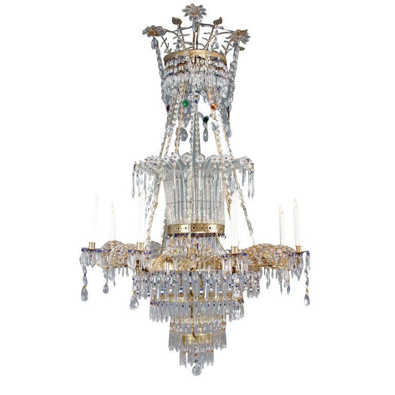 Large Italian Neoclassical Cut Glass Chandelier
