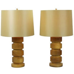 A Pair of American Maple Lamps
