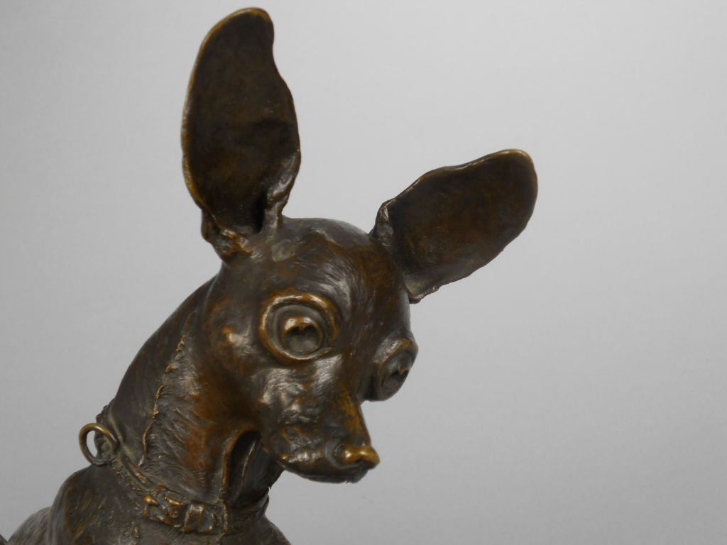 French Patinated Bronze Sculpture Of A Chihuahua At 1stdibs