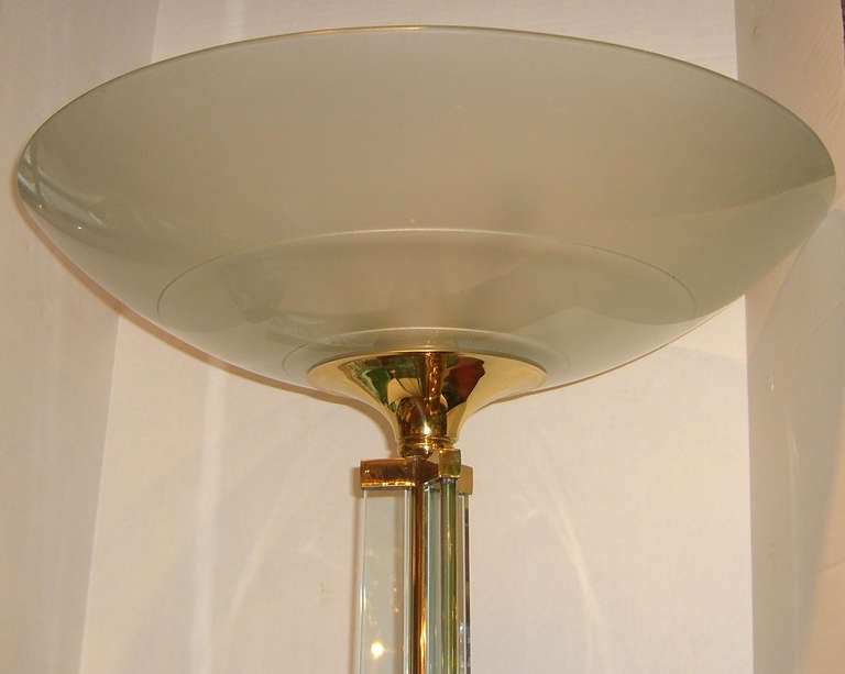 Mid-Century Modern Pair of French Glass and Brass Torchieres For Sale