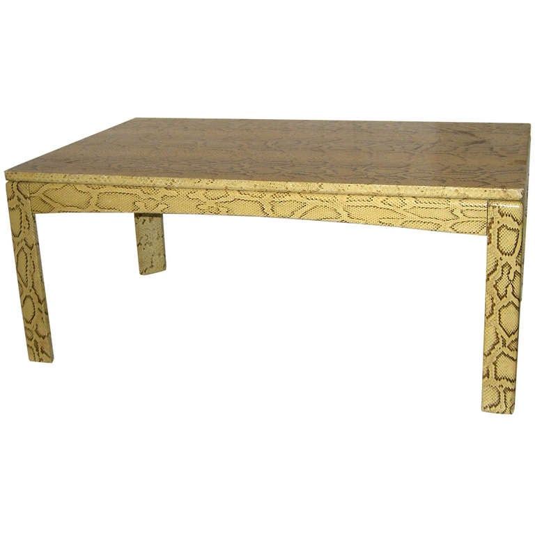 Vintage python cocktail table in the manner of karl for Table in python