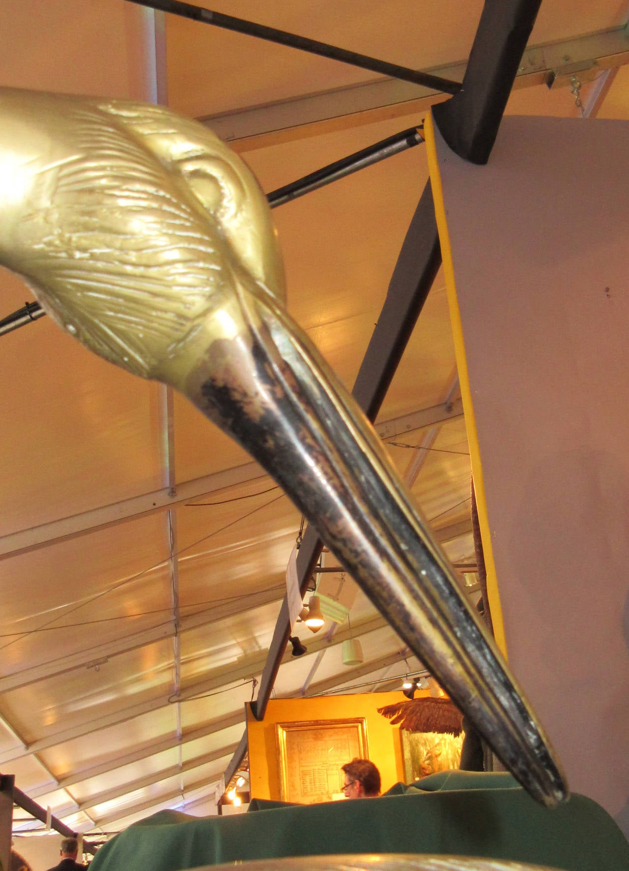 French Pair of Large Patinated Brass Garden Sculptures of Herons For Sale