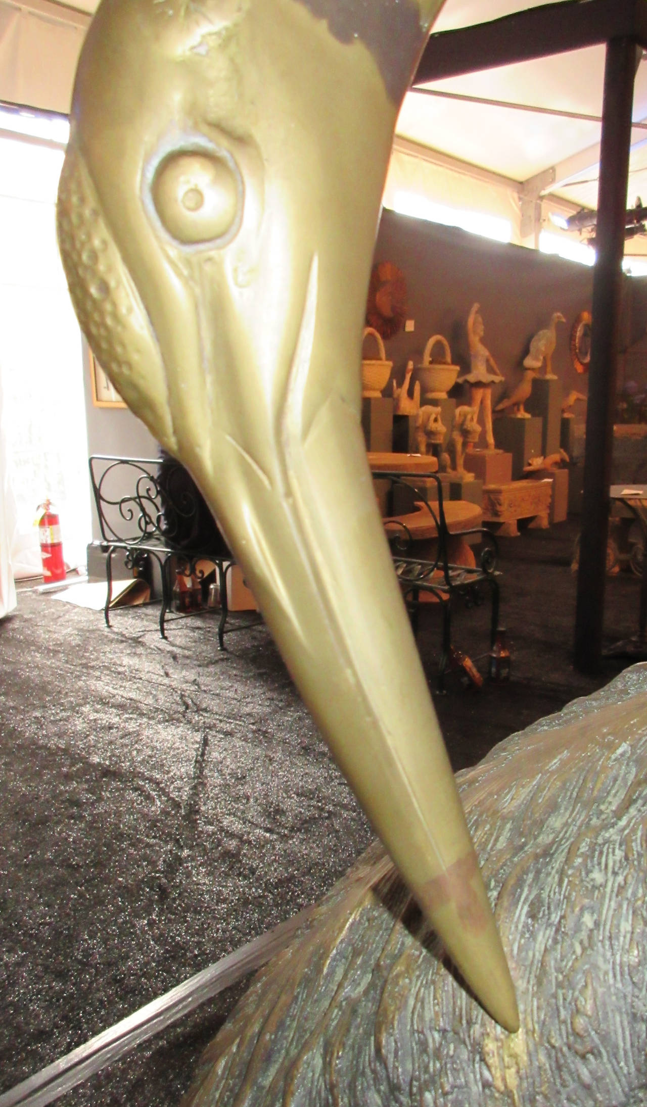 Pair of Large Patinated Brass Garden Sculptures of Herons In Excellent Condition For Sale In Mt Kisco, NY