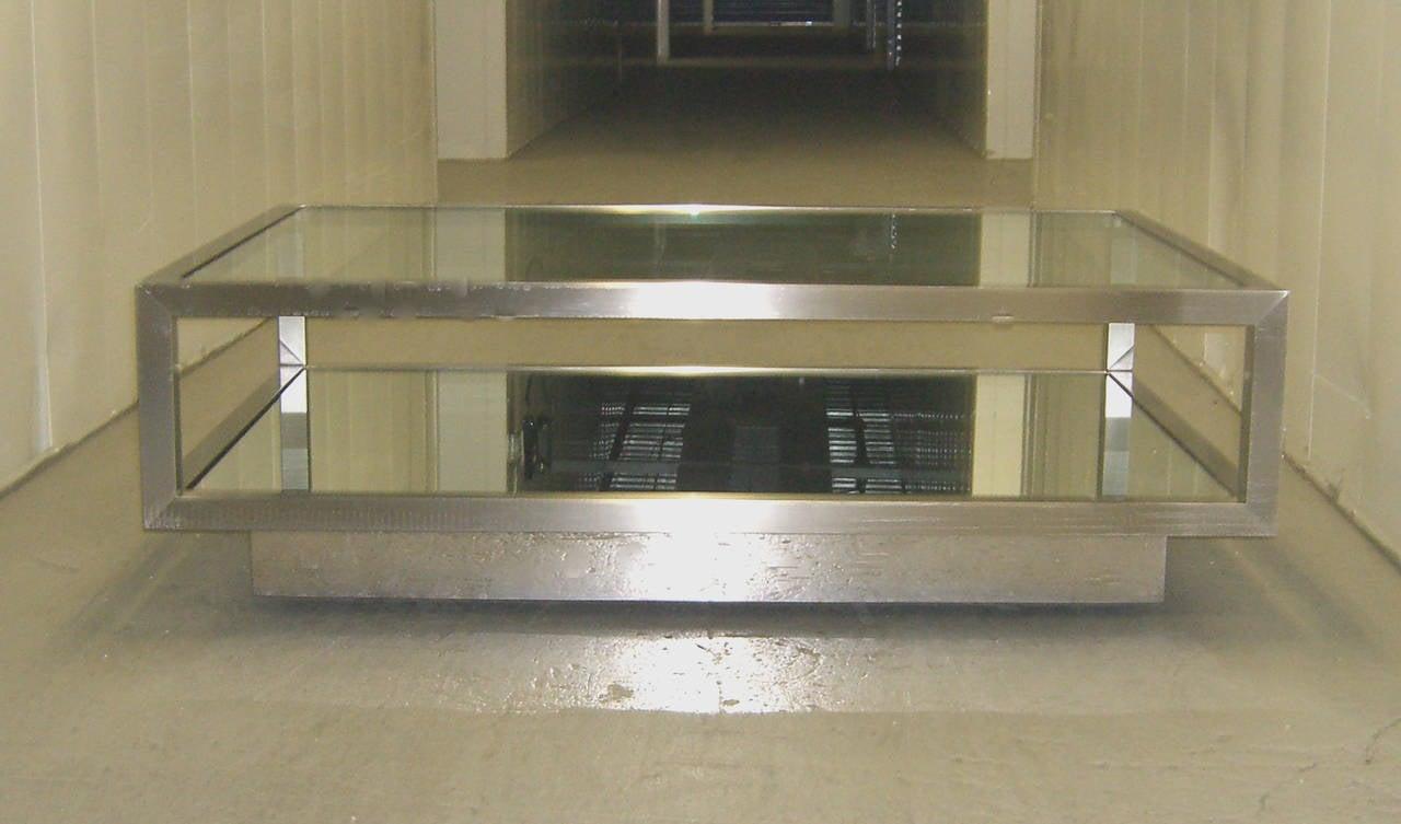 Modern Brushed Steel Rolling Platform Cocktail Table For Sale