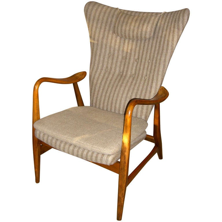 danish modern wingback armchair by bovenkamp for sale at. Black Bedroom Furniture Sets. Home Design Ideas